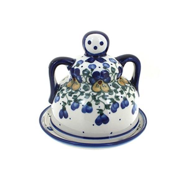 Blue Rose Polish Pottery Pansies Medium Cheese Lady