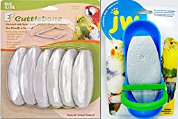 Cuttlebone Treat 6 Pack- Natural Flavor and Cuttlebone Holder Toy for Cockatiels, Parakeets and other birds