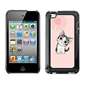 Soft Silicone Rubber Case Hard Cover Protective Accessory Compatible with Apple IPod Touch 4 - Cute Japanese Pink Cat