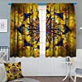 "Chaneyhouse Yellow and Blue Blackout Window Curtain Mandala with Golden Floral Ornamental Psychedelic Fantasy Rays Asian Pattern Customized Curtains 55"" W x 39"" L Navy Gold"