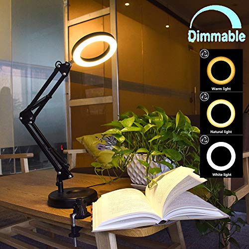 - Flexible Arm Desk Lamp, Dimmable LED Work Desk Lamps-6W, Clamp-on Desk Light, Eye-Care Soft Light, Reading Lamp, Bedroom Lamps, Multi-Joint Adjustable Arm Desk lamp, Black Painted with Metal Clamp