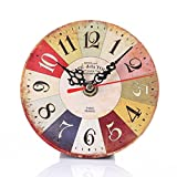 Vintage Style Non-Ticking Silent Antique Wood Wall Clock Cakaco for Home Kitchen Office (E)