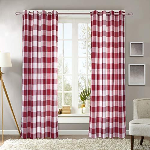 Decotex 1 Piece Plaid Buffalo Checkered Grommet Top Window Curtain Drape Panel or Valance (53