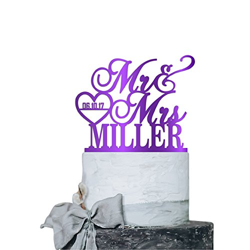 P Lab Personalized Cake Topper Mr. Mrs. Last Name Custom Date 2 Wedding Cake Topper Acrylic Decoration for Special Event Purple Mirror (Casual Wedding Cake Topper)