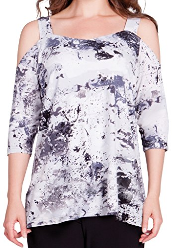 Off The Shoulder Top Size 14 Color Splash Print ()