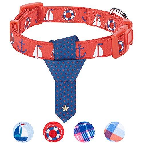 Blueberry Pet 4 Patterns Cardinal Red Nautical Sailboat Designer Tie Dog Collar, Medium, Neck 14.5