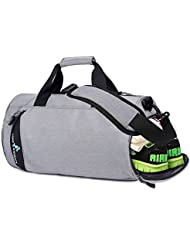 Fvino Sports Duffle Bags for Men Women Lightweight Waterproof Gym Bag with Shoes Compartment Medium Light Gray