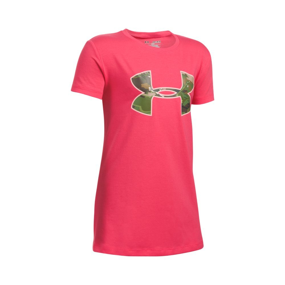 Under Armour Girls' Camo Fill Big Logo Short Sleeve T-Shirt, Gala (692), Youth Large by Under Armour