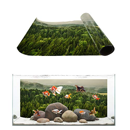 Fantasy Star Aquarium Background Virgin Forest Coniferous Forest Design Fish Tank Wallpaper Easy to Apply and Remove PVC Sticker Pictures Poster Background Decoration 16.4