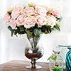 GSD2FF 10 Heads Rose Artificial Flower French Silk Flower Rose Bouquet for Wedding Home Party Fake Flower Fall Decoration 56
