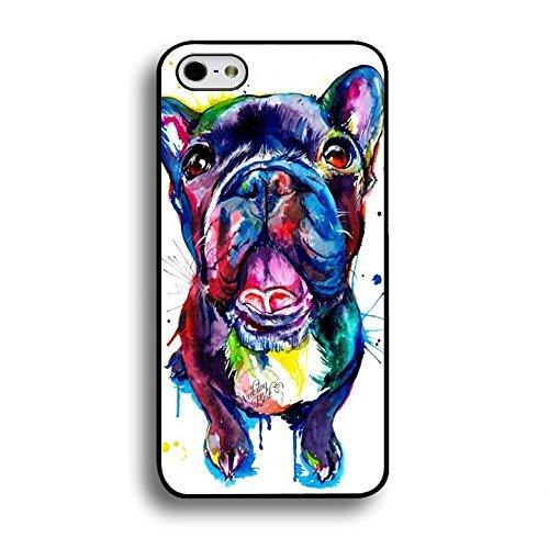 Price comparison product image Fashion Bright Colorful Painted French Bulldog Phone Case Cover for Iphone 6 / 6s ( 4.7 Inch ) Pet Dog Unique Shell