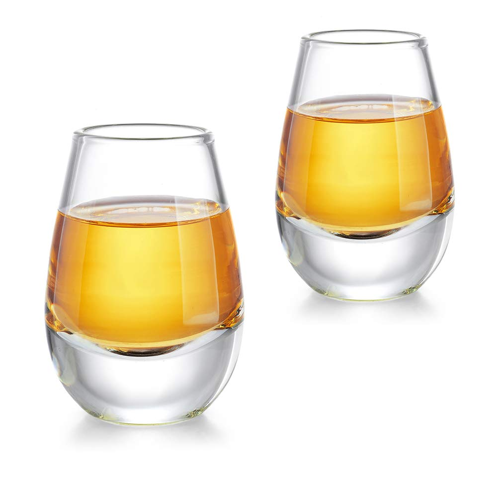 ZENS Sake Cups Glass Japanese,1.35oz Clear Cute Shot Glasses Set of 2 with Heavy Base for Cold Sake Liquor or Tequila by ZENS