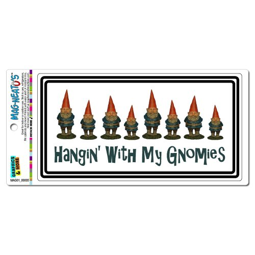 Graphics and More Hanging with My Gnomies - Gnomes Automotive Car Refrigerator Locker Vinyl Magnet