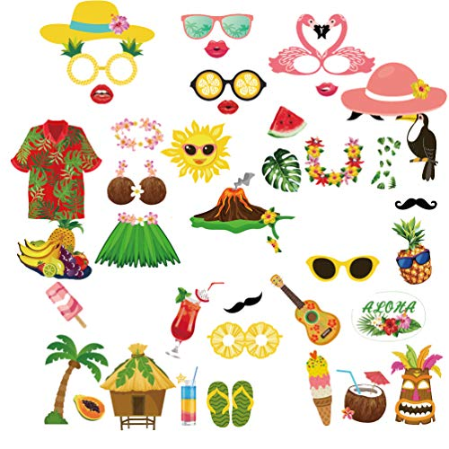 LJCL 44 pcs Summer Luau Photo Booth Props - Hawaiian Aloha Birthday Party Supplies Favor,Tropical/Tiki/Summer Beach Pool Party Decorations Supplies (Simple DIY Needed)