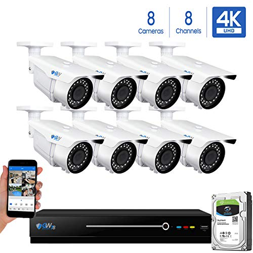GW 8 Channel 4K NVR 8MP (3840×2160) H.265 PoE Security Camera System – 8 x UltraHD 4K 2.7~13.5mm Varifocal Zoom 196ft IR 2160p IP Cameras – 8 Megapixel (Four Times The Resolution of 1080p Full HD)