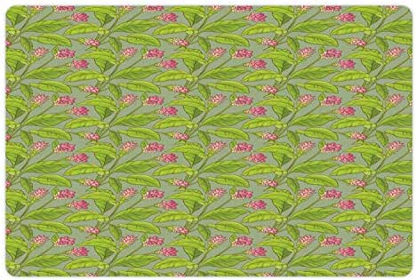Ambesonne Botanical Pet Mat for Food and Water, Floral Pattern Cartoonish Turmeric Flower Blossom, Rectangle Non-Slip Rubber Mat for Dogs and Cats, Pistachio Green Apple Green Pink