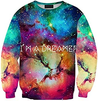 Fashion 3 D digital printing colorful starry sky pattern hoodie unisex comfortable loose hoodie