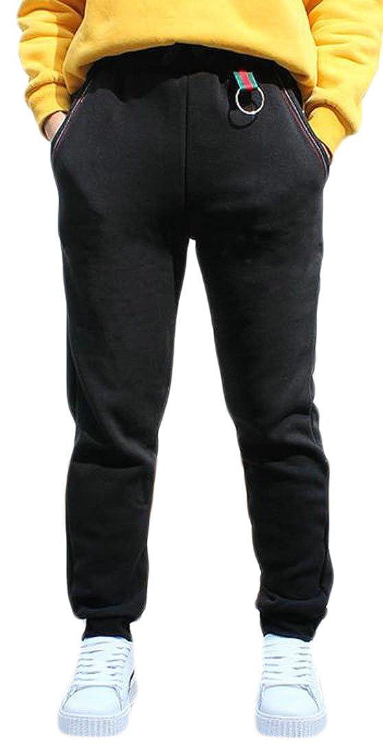 Fulok Boys High Waist Sport Casual Fleece Spring Jogger Pant Black 6T