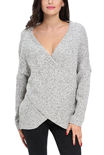 Dokotoo Womens Long Sleeve Chunky Cross Wrap V Neck Tunic Pullover Sweater Top
