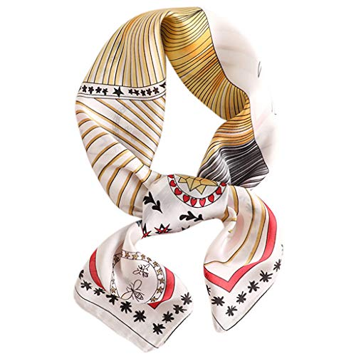 VIccoo Women Scarf, 70x70CM Vintage Imitation Silk Women Square Neck Scarf Contrast Colored Plaid Leopard Print Bandana Office Handkerchief Headwrap - M#
