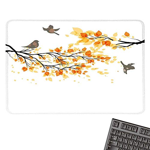 Falllarge Mouse padBranch with Pale Fall Leaves and Birds Natural Change in Season Summertime PrintComfortable Mousepad 15.7