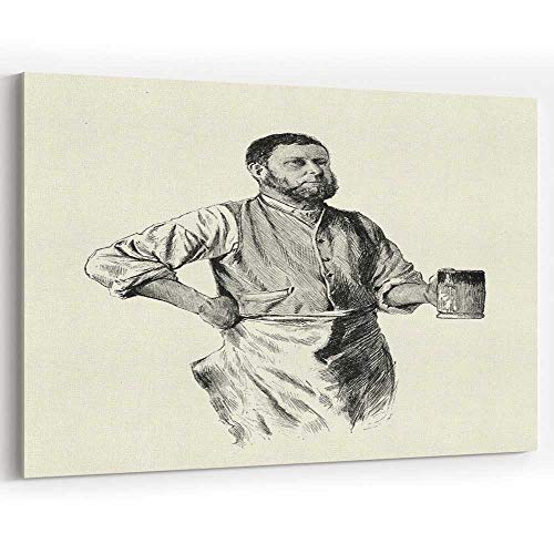 (Victorian Blacksmith Drinking Beer from a tankard Canvas Prints Wall Art for Modern Home Decor)