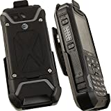 SONIM XP5 CLIP, NAKEDCELLPHONE'S BLACK ROTATING BELT CLIP HOLSTER CASE WITH STAND FOR SONIM XP5 PHONE (XP5700)