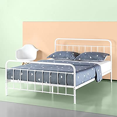 "ZINUS Florence Metal Platform Bed Frame / Mattress Foundation / No Box Spring Needed / Easy Assembly, White, Twin - DIMENSIONS: 78"" X 38"" X 12"" 