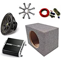 Kicker 10 Comp Sub DXA2501 Amp with Grill,Amp Kit,Enclosure Bundle