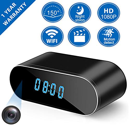 Hidden Camera Clock, Spy Camera WiFi Wireless Hidden, 1080P Nanny Cameras and Hidden Cameras with Night Vision and Motion Detective, Perfect Indoor 150 Angle Security Camera Alarm Clock for Home
