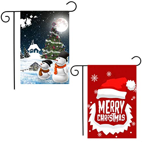 Shmbada 2 Pack Christmas Garden Flag Kit, Double Sided Flag, Shows Happy Snowman, Christmas Tree, Santa Hat, Outdoor Lawn Yard Banner Decor Winter Flags, Gift for Kids Children, 12 X 18 Inch