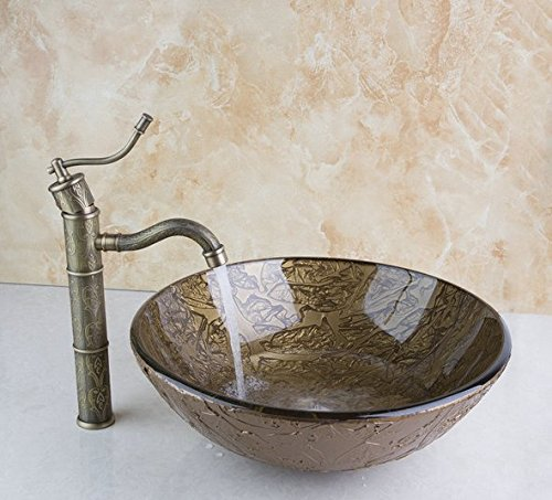GOWE Bathroom Basin Sink Vessel Tap Antique Brass Excellent Quality Lavatory Glass Basin Set 0