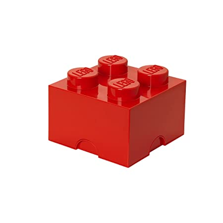 LEGO Brick 4 Knobs Stackable Storage Box, Red, 5.7 Litre: Amazon.co ...