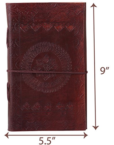 Adimani Tree of Life Handmade Brown Leather Diary/Travel Writing Journal Notebook with Strap/Refillable- Size 9x5 inches Thoughtful Gift
