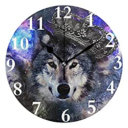 Ladninag Wall Clock Hipster Wolf Silent Non Ticking Decorative Round Digital Clocks for Home/Office/School Clock