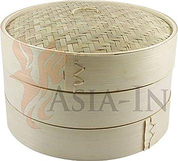 Bambusdampfer 3 Teilig 25 Cm Bamboo Steamer Set Amazon De Kuche