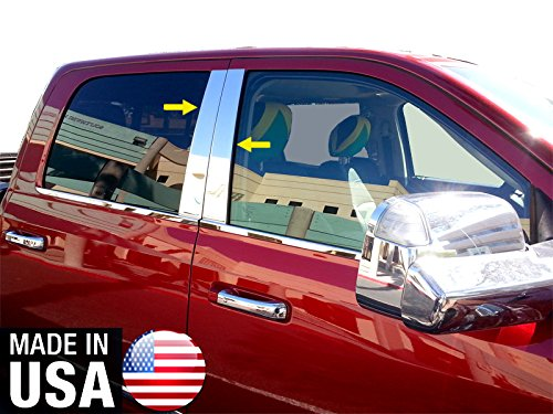 2009 Chrome Pillar Posts (Made In USA! 2009-2018 Dodge Ram 1500 Crew/2010-2018 Ram Mega Cab 4PC Stainless Steel Chrome Pillar Post Trim)