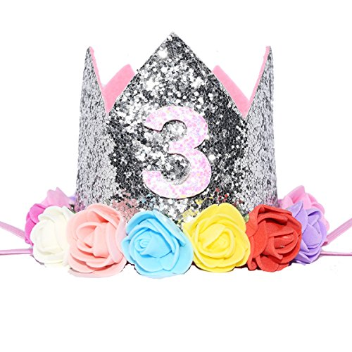 Glitter 1/2 1st Birthday Princess Flower Crown Tiara Cake Smash Photo Prop (Silver Flower 3)