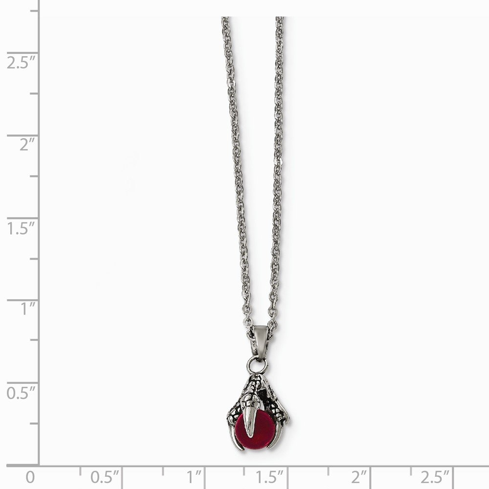 Stainless Steel Antiqued And Polished Glass Claw Necklace 18 Inches