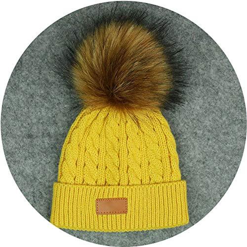 Kids Ball Cap Fur Pom Poms Winter Hats for Boys Girls Warm Knit Thick Cap,Yellow