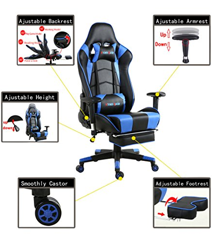 Big Gaming Chair for PC Ergonomic Racing Game Chair Computer Chairs with Footrest,Blue/Black by Storm Racer (Image #1)