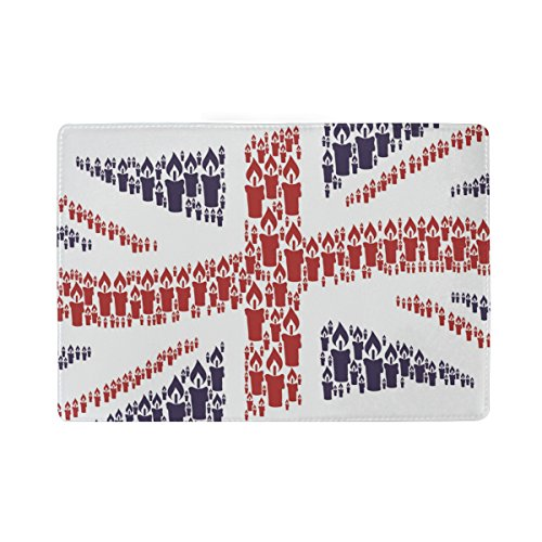 Passport Holder Case Union Jack Candle Icons Leather Cover Holder Wallet For Travelling (Personalized Personality Travel Candles)