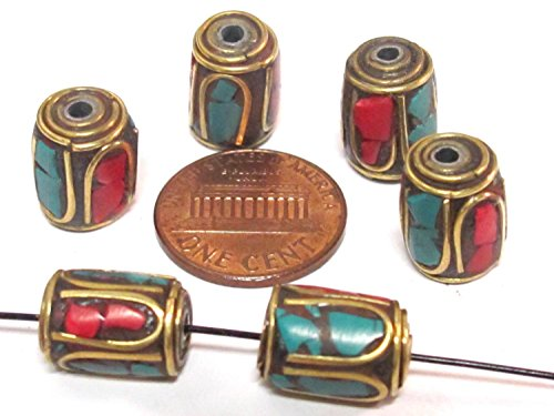 - 8 Beads - Tibetan brass beads thick cylinder tube shape with turquoise coral inlay from Nepal - bracelet making beads - BD953