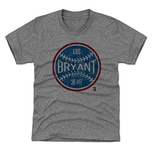 500 LEVEL Chicago Cubs Youth Shirt - Kids Large (10-12Y) Tri Gray - Kris Bryant Ball B (Cubs Chicago Gray Shirt)