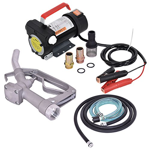 Oil Diesel Fuel (Goplus 12V 10GPM Electric Diesel Kerosene Oil Fuel Transfer Extractor Pump W/ Hose & Nozzle)