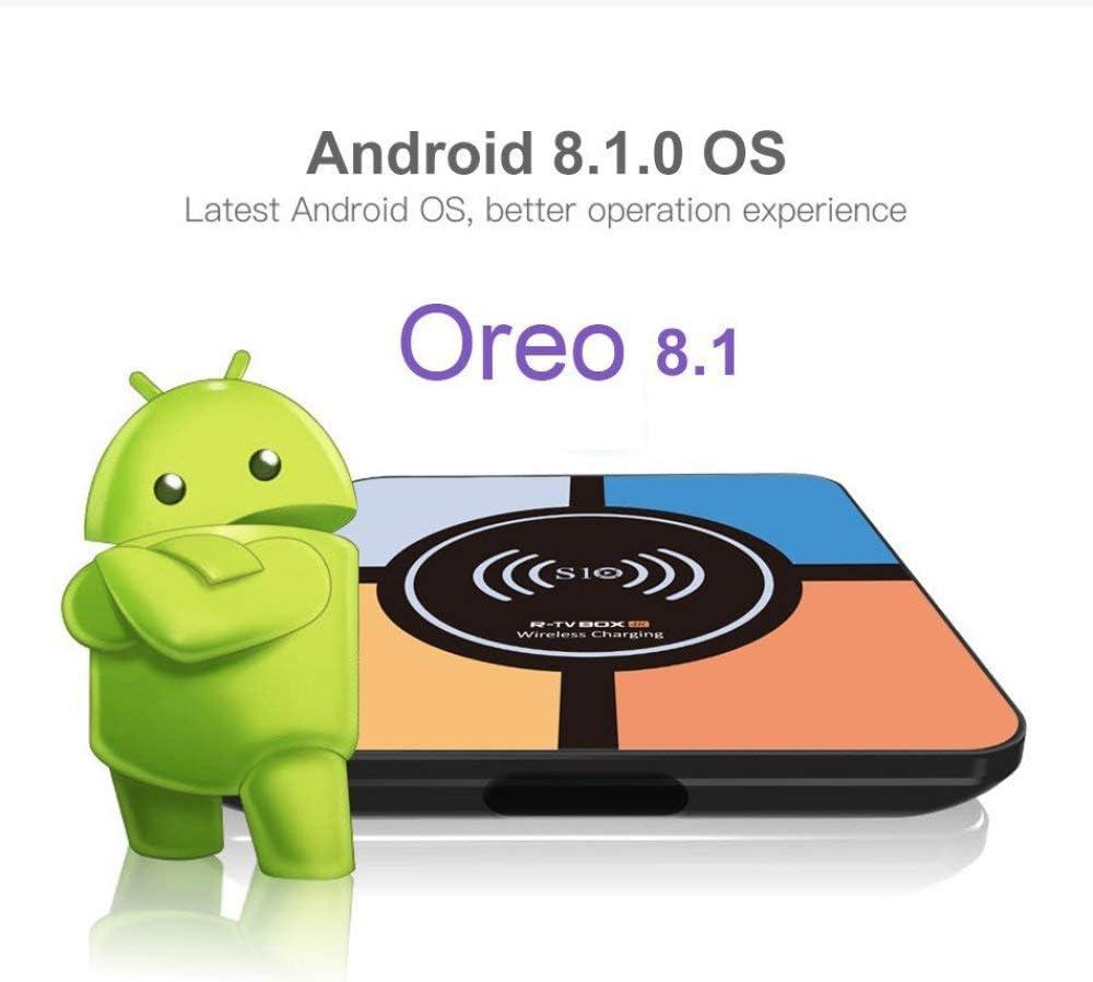YPSMCYL Android 8.1 OS Smart TV Box + Función De Carga Inalámbrica | Procesador RK3328 Quad Core 4GB + 32GB Soporte Dual Band 2.4GB + 5.8GB WiFi / 4K / H.265 / USB3.0 / 3D: Amazon.es: Hogar