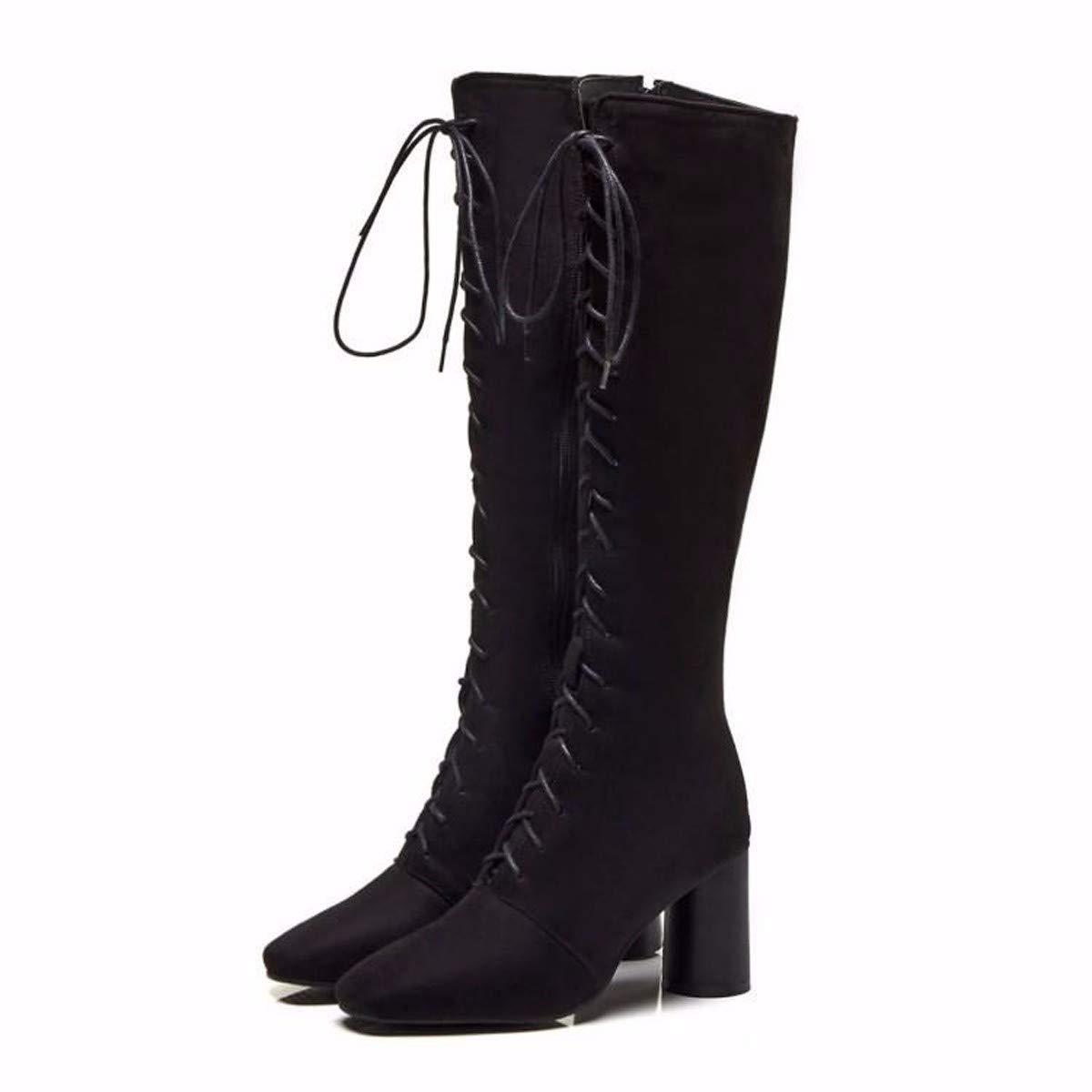 LBTSQ-Mode Damenschuhe Knie - Stiefel Mit Hohen 7Cm Pravokotno Glavo Dicke Sohle Hohe Rohr Ritter Stiefel Wildleder Hohe Stiefel.