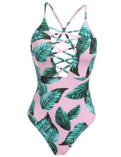 Pink Bathing Suit - Aimado Swimwear Women's One Piece Swimsuit Front Back Beachwear Bathingsuit (Pink Green, Small)