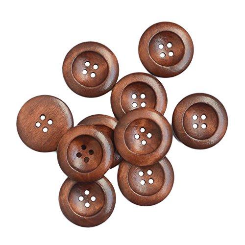10 Holzknöpfe braun 25 mm