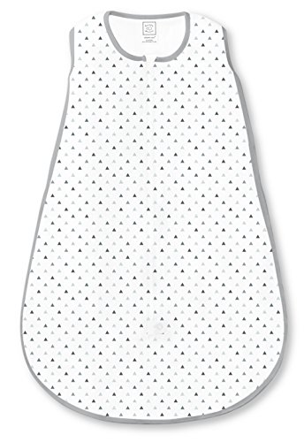 SwaddleDesigns Cotton Sleeping Sack with 2-Way Zipper, Sterling Tiny Triangle Shimmer, Medium